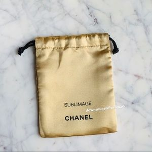 Authentic CHANEL gold drawstring pouch